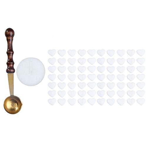 Nieuw 1 stks Vintage Wax Stempel Zegelwas Lepel Houten Handvat Afdichting Mini Smeltwas Lepel + 70 stks Hartvormige Zegellak Kralen, Wit