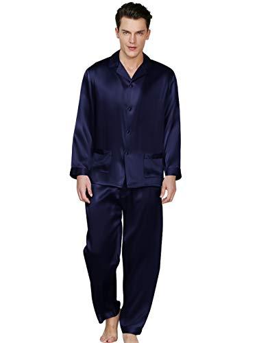 ElleSilk Herren Seiden-Pyjama in Klassischer Form mit Knopfleiste und Kragen, Navyblau, M