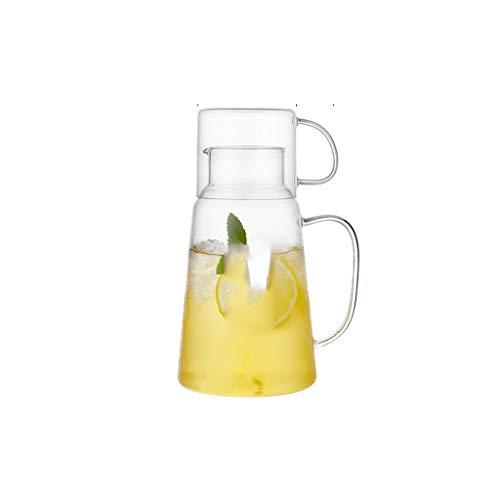 Dispensador de agua y bebidas – Botella de agua fría creativa de cristal, aplicación caliente y fría, 1300 ml para bebidas frías o calientes