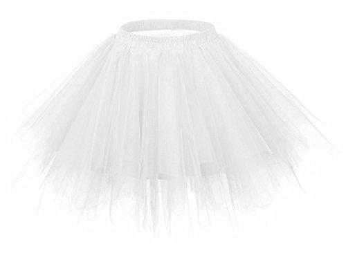 FEOYA Falda Tutu de Ballet para Mujer Skirt Corta Elegante con Capas Cintura Elástica Disfraz Fiesta Blanco 38CM
