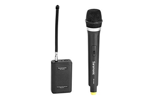 Saramonic Sistema de micrófono portátil portátil VHF portátil para cámara/videocámara DSLR, compatible con Canon/Nikon/Sony/Panasonic/BlackMagic/Zoom/Tascam/Roland para la entrevista Vlog