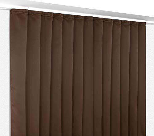 Verdunkelungsgardine mit Kräuselband, blickdichter Vorhang 300x245 cm Farbe wählbar, Dunkelbraun