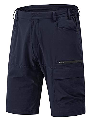 YSENTO Pantalones cortos para hombre, de secado rápido, ligeros, para verano, senderismo, ciclismo, camping, con 5 bolsillos azul 32