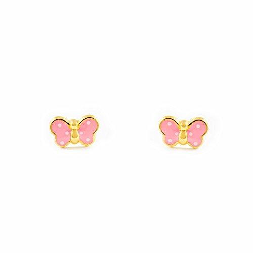 Monde Petit T1663P - Pendientes de bebe/niña oro 18 kts. mariposa esmaltada, color rosa