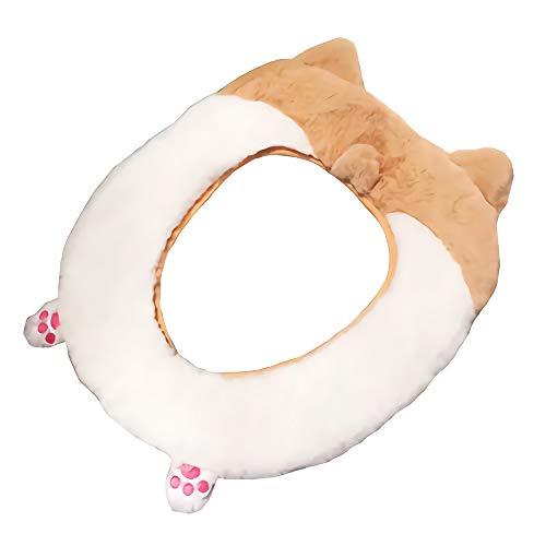 Gifts Treat Coprisedile per WC Accessori per Toilette Stile Animale Carino Morbido Peluche scaldabagno (Culo di Corgi)