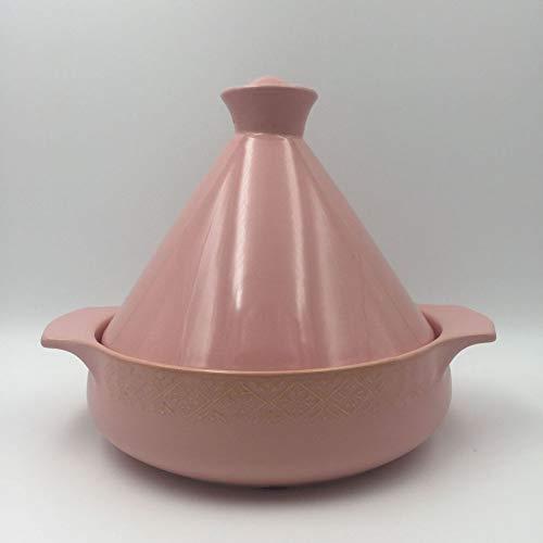 Tagine Topf,keramikplatten Pfanne Marokkanische Candy Farbe Topf Antihaft Hohe Temperatur Eintopf Mit Muster Feuer Eröffnen Gas Sicher-rosa
