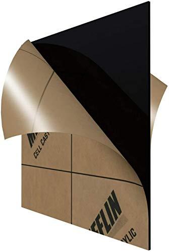 "MIFFLIN Cast Plexiglass Sheet (Opaque Black, 1 Piece, 24""x24"", 0.118"" (1/8 in) Thick), Acrylic Sheet, Plexi Glass, Plastic Sheet, Clear Plastic Sheet, Cast Acrylic Plexiglass, Square Plexiglass"