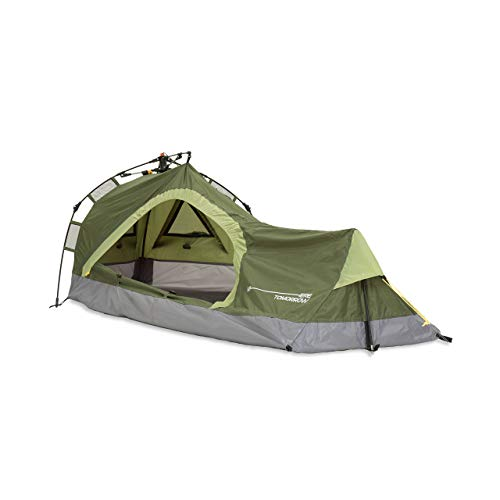 Lumaland Where Tomorrow Solo-Zelt Pop Up Wurfzelt 1-Personen-Zelt - Dreieck - 225x100x57 cm - Camping Festival - Ultraleicht, kleines Packmaß, wasserdicht, robust - Grün