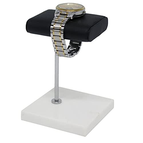 HUANHUAN Huan Store Base de mármol Blanco Tenedor de Reloj de Plata Color de Plata Cintura de Metal Reloj de Reloj de Pantalla Pantalla Pulsera Pulsera Soporte de colocación (Color : White Black)