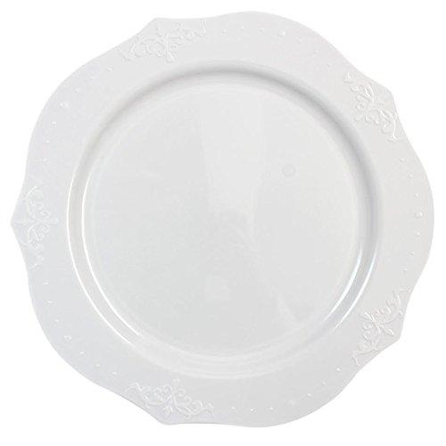 Decorline- Piatti da Dessert 19 cm -Stoviglie plastica Deluxe -USA e Getta - Color Bianco- Plastica Rigida - 20 Pezzi - Antique Collection