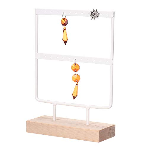 Soporte para orejas,soporte exhibición organizador joyas 8.3x 5.9 pulgadas,soporte exhibición pendientes mesa madera metal 2 niveles mujeres niñas decoración pendientes colgantes