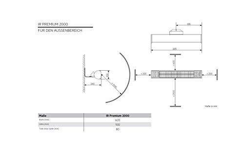AEG Terrassen-Heizstrahler IR Premium 2000 W, hocheffiziente Qualitäts-Goldröhre, nicht-rostend, 229945 - 3