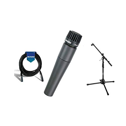 Shure SM57-LC Cardioid, Dynamic Handheld Wired Microphone. - Bundle with 20' Heavy Duty 7mm Rubber XLR Microphone Cable, Boom Stand