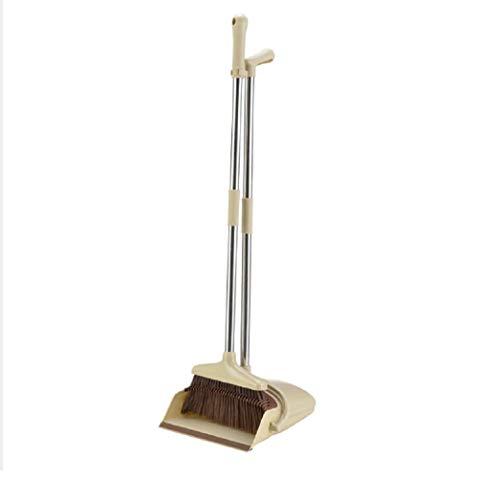 You God 2 PCS/Set Latest Plastic Dustpan Soft Bristle Broom Thicken Household Sweep Floor Multi-Functional Non-Slip Handle Cleaning Tool (Cream)