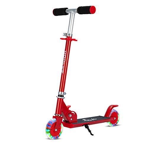 CJY- Cushion Scooter mit LED-Wheels Stadt Scooter mit Federung, faltbar und Höhenverstellbarkeit Stadt Scooter, Scooter für Kinder und Jugendliche, Geeignet für Außen,A
