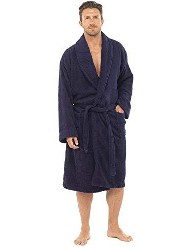 CityComfort Bata de baño para Hombres Bata de algodón 100% Terry Albornoz Albornoz Baño Ideal para Gimnasio Ducha SPA Hotel Bata Tamaño de Vacaciones M/L, L/XL, 2XL, 3XL y 4XL (L/XL, Armada)