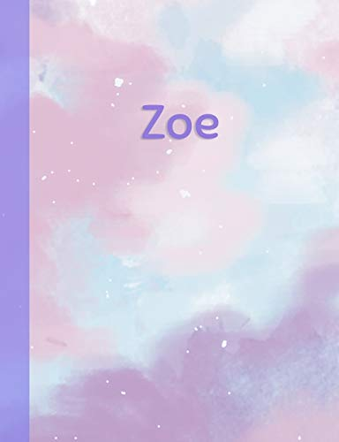 Zoe: Personalized Composition Notebook – College Ruled (Lined) Exercise Book for School Notes, Assignments, Homework, Essay Writing. Purple Pink Blue Cover Art - Cloud Marble with Name