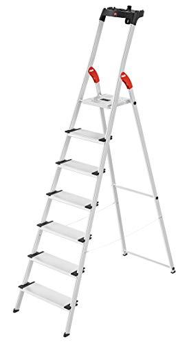 Hailo L80 ComfortLine, Alu-Sicherheits-Stehleiter, 7 XXL-Stufen, belastbar bis 150 kg, silber, Made in Germany, 8040-707