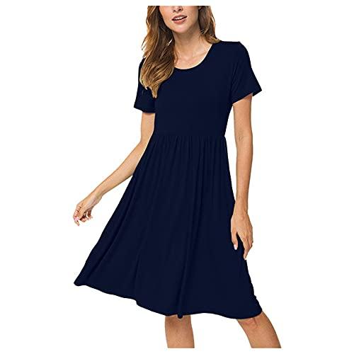 N\P Vestido de verano para mujer suelto, casual, para mujer, manga corta, para mujer, Azul / Patchwork, Large