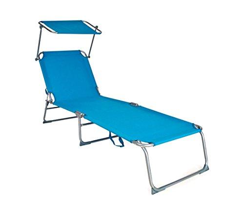 MEDIA WAVE store 2309P Lettino Prendisole Pieghevole Schienale Regolabile e tettuccio Parasole di Colore Azzurro