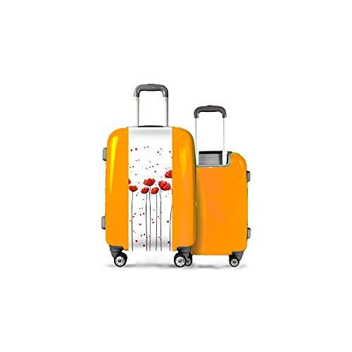Valise CALIBAG (Taille M) Grands Coquelicots Orange