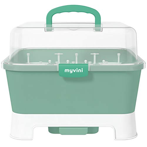 TOYANDONA Baby Bottle Drying Rack Caja de Almacenamiento con Cubierta Portátil Armario de Cocina Organizador Encimera Secador Infantil Cajas de Vajilla Verde