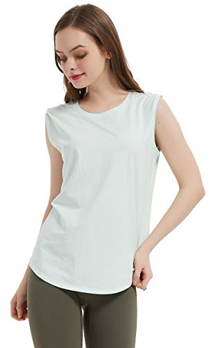 Hotroad - Camiseta sin Mangas para Entrenamiento de Yoga para Mujer, sin Mangas, con Cuello Redondo, Suave y Dulce, Ropa Informal de Corte Holgado para Correr Tenis, Verde, Medio