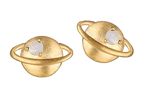 Satya Jewelry EG017-26 Women's Gold Stud Earrings - Small Saturn with Moonstone - Silver 925 Gold-Plated