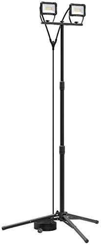 Northpoint LED Blackline Baustrahler Arbeitsstrahler mit Stativ Fluter Strahler 40W (2x 20W) Leistung 3200 Lumen Lichtstrom 156cm Stativ 5m Zuleitung AN/AUS Schalter