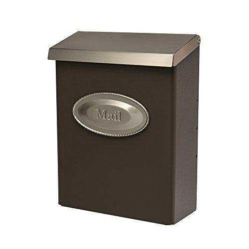 Gibraltar Mailboxes DVKPBZ00 Designer locking mailbox, Bronze w/Satin Nickel, 9.7 x 4.4 x 12.6 inches