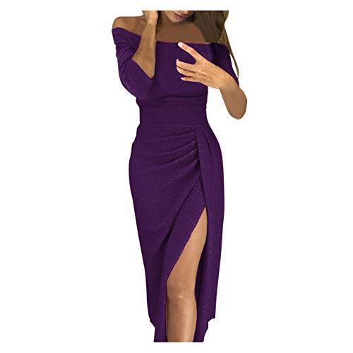 iHENGH Damen Frühling Sommer Rock Bequem Lässig Mode Kleider Frauen Röcke Weg von der Schulter hohe geschlitzte, figurbetontes Kleid Langarm Kleider(Lila, 2XL)