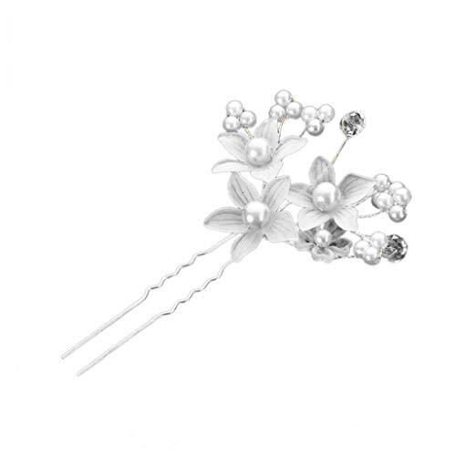 3 Stück Kristall Blumenstifte Charme Brötchen Junge Princess Bride Haar Klebt Perlenschmuck Zubehör Spange Weißes Haar