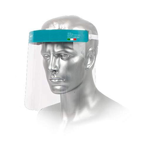 MedicinaDelLavoro.com - Visiera Protettiva Trasparente per il Viso Italiane, DPI Cat. II, Maschera per Lavoro Riutilizzabile in Pet, Face Shield Facciale di Protezione [2 Pezzi] - Made in Italy