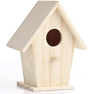 Set of 4 Unfinished Wooden Birdhouses for Crafting, Creating and Decorating