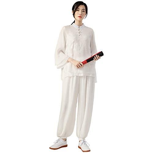 KSUA Womens Tai Chi Cloth Kung Fu Suit Cotton Martial Arts Uniform, US S/Tag M