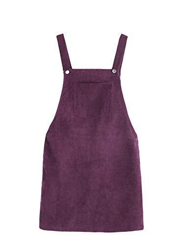 Romwe Women's Straps A-line Corduroy Pinafore Bib Pocket Overall Dress Purple L