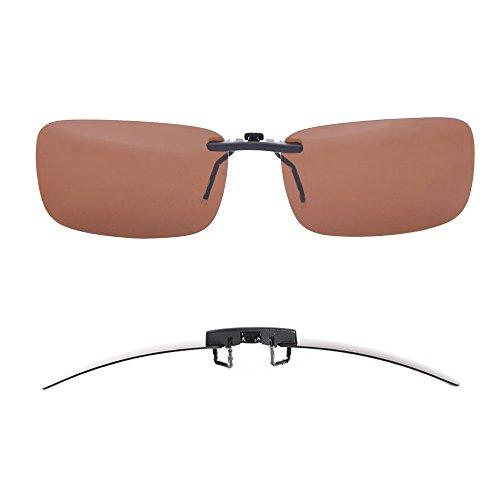 TERAISE Polarisierte Sonnenbrille mit Clip über Brillen Blendschutz UV404 für Männer Frauen Fahren Reisen Outdoor Sport (Brown)