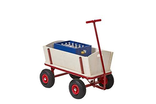 Izzy Bollerwagen Holz mit Luftreifen Kohlfahrt Karneval Boßeln Karre Planwagen Außenschubkarre Strandwagen Gartenanhänger Transportwagen für alle Gelände geeignet (Bollerwagen mit Luftreifen)