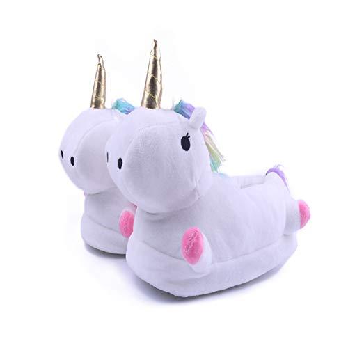 Kimily Unicornio Felpa Suave Calentar Zapatillas Zapatos Mujer Hombre Niñas Niños Invierno Primavera Peluche Zapatillas De Estar por Casa