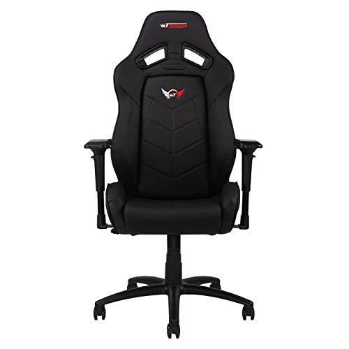 GT OMEGA Elite Racing Gaming Stuhl mit Lendenwirbelstütze - Ergonomischer Bürostuhl mit 4D verstellbare Armlehne & Recliner - PVC Leder Esport Sitz für Ultimate Gaming Experience - Schwarz