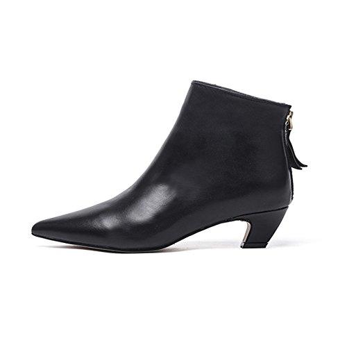 Darco & Gianni Damen Stiefeletten Mit Niedriger Blockabsatz Frauen Sexy Kurzschaft Stiefel Leder Ankle Boots Spitz Reißverschluss Schuhe, Schwarz Glattleder, 39 EU