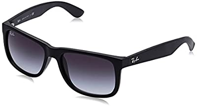 Ray-Ban RB4165 Justin Rectangular Sunglasses, Black Rubber/Grey Gradient, 55 mm