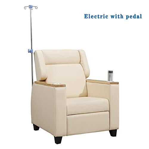 WSN Elektrische Hebebühne, Elektrischer Krankenhaus-Infusionsstuhl Wartezimmer-Tropfstuhl mit Beiger Fußstütze