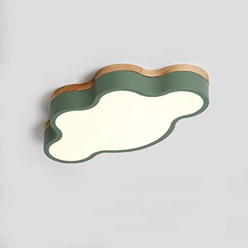 * LED 20 W creatief cloud-design acryl massief hout woonkamer eenvoudige slaapkamer kinderkamer plafondlamp van smeedijzer-smeedijzer, flexibele verduistering (groen)