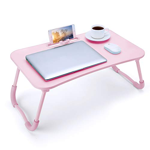 Bed Tray Table with Handle Foldable Laptop Bed Desk Low Floor Folding Table for Kids Adults Eating Breakfast Watch Read Write on Bed/Couch/Sofa/Outdoor-Pink
