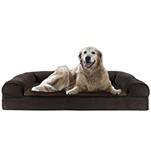 Furhaven Pet Dog Bed – Cooling Gel Memory Foam Faux Fleece and Chenille Soft Woven Traditional Sofa-Style Living Room Couch Pet Bed with Removable Cover for Dogs and Cats, Coffee, Jumbo