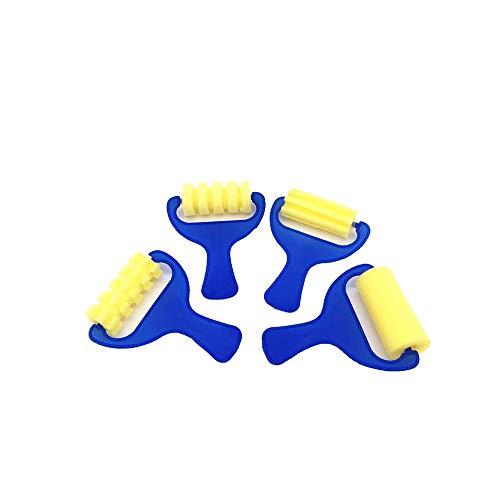 Ogquaton 4 Stück Sponge Maler-Rollerbürsten für Kinder aus Schaumstoff für Kinder