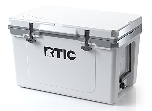RTIC Ultra-Light 52 qt, White & Grey, 30% Lighter, Ice Chest with Heavy Duty Rubber Latches, Insulated Walls Keeping Ice Cold for Days, Great for The Beach, Boat, Fishing, Barbecue or Camping