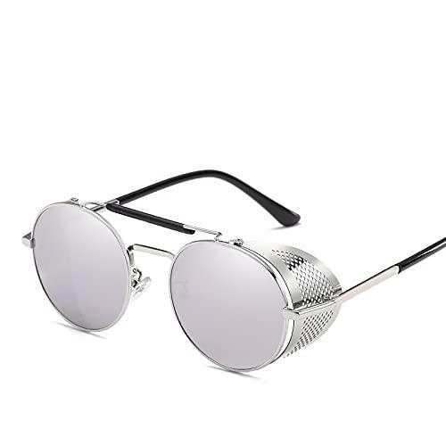 YOUMIYH Personalidad Retro Gafas de Sol Marco Estado Parabrisas Color Redondo Película Reflectante Fresco Lente Reflectante UV400 Protección (Color : D, Size : A)