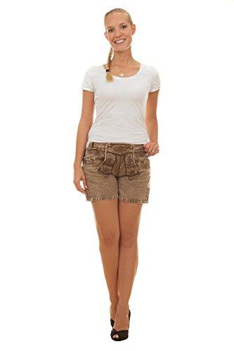 Edelnice Trachtenmode Vegane Shorts SARA im Lederhosen Look aus Baumwollsatin (42)